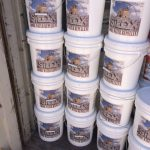Five gallons buckets of the Silox stacked and ready for sale. Call today for a 10% discount off the regular price util January 30, 2018!